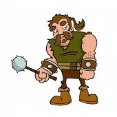 illustration of a cartoon barbarian on white background