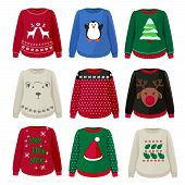 Ugly Sweaters. Funny Christmas Clothes Jumper With Decoration Cute Snowflakes Vector Sweaters Collec poster