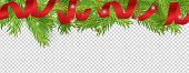 Christmas Banner. Red Ribbon, Christmas Tree Branches Vector Background. Holidays Border Design. Ill poster