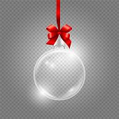 Christmas Toy. Glass Globe With Red Silk Ribbon. Realistic Vector Glass Ball Isolated On Transparent poster