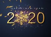 Happy New 2020 Year. Holiday Vector Illustration Of Golden Metallic Numbers 2020 And Sparkling Glitt poster