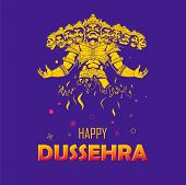 Illustration Of Ravana With Ten Heads For Navratri Festival Of India Poster For Dussehra poster