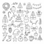 Christmas Doodle Set. Sketch Christmas Wreath, Fir-tree And Snowman, Candles. Candies, Santa Hat And poster