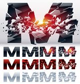 A vector letters set of a collapsing alphabet. 4 states. Symbol M
