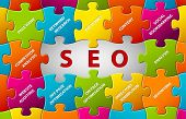 Search Engine Optimization vector puzzle abstrato
