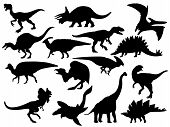 Set Of Dinosaur Silhouettes. Collection Of Extinct Animals. Black And White Illustration Of Dinosaur poster