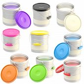 picture of paint pot  - Set of nine glossy colorful paint buckets isolated on white - JPG