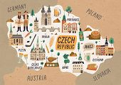 Czech Republic Cultural Map Hand Drawn Illustration. European Country Traditional Symbols. People In poster