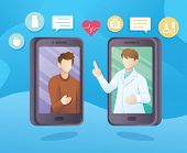 Medical Consultation And Treatment Via Mobile Application. Online Consultation Concept Illustration poster
