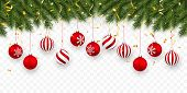 Festive Christmas Or New Year Background. Christmas Fir-tree Branches With Confetti And Xmas Red Bal poster
