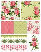 Vintage Shabby Chic Rose Seamless Patterns.  Use to create fabric projects such as quilting or home