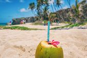 Fresh coconut water drink on beach resort holiday background with reusable eco-friendly plastic stra poster
