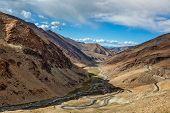 Manali Leh road near Tanglang la Pass - mountain pass in Himalayas along the Leh-Manali highway. Lad poster
