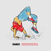 Breakdancer Doing A Back Flip. The Man Is Dancing Hip Hop Style. Vector Outline Of Breakdancer With  poster