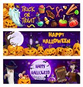Halloween Pumpkins, Trick Or Treat Sweets And Spooky Ghosts Vector Banners. Horror Night Bats, Witch poster