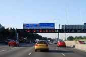 M25 Motorway In Morning Rush Hour