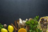 Ginger, Lemons And Mint Leaves On Dark Background. Ginger Tea, Drink Ingredients, Cold And Autumn. C poster