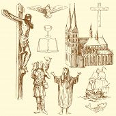 christianity - hand drawn set