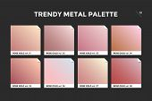 Rose Gold Gradient Template. Collection Palette Of Pink Gold Metallic Gradient Swatches With Gloss F poster