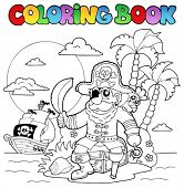 Livro de colorir com tema de pirata 4 - ilustração do vetor.