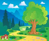 Wald Landschaft 8 Vector Illustration Cartoon.