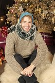 Macho Smile In Hat, Sweater, Tinsel At Christmas Tree. Happy New Year, Eve, Party. Winter Fashion, S poster