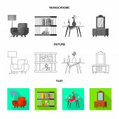 Vector Design Of Comfort And Equipment Icon. Collection Of Comfort And Furniture Vector Icon For Sto poster