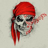 picture of piercings  - illustration of skull with bandana on abstract grungy background - JPG