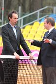 KHARKIV, UKRAINE - APRIL 20: Referees on the court during Fed Cup Tie between USA and Ukraine in Sup