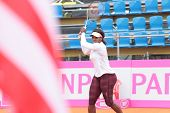 KHARKIV, UKRAINE - APRIL 20: Serena Williams on the court during training game on Fed Cup Tie between USA and Ukraine in Superior Golf & Spa Resort, Kharkiv, Ukraine at April 20, 2012