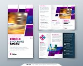 Purple Tri Fold Brochure Design With Square Shapes, Corporate Business Template For Tri Fold Flyer.  poster