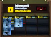 Blurry Image Of Arrival And Departure Board At The Airport poster