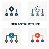 Infrastructure Icon Set. Four Elements In Diferent Styles From Community Icons Collection. Creative  poster