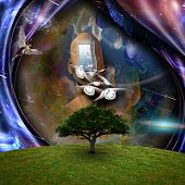Surrealism. Flow of Time through space. Naked man with wings represents angels. 3D rendering poster