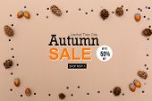 Autumn Sale Theme Message With Autumn Themed Background Border poster