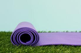 pic of yoga mat  - Purple Yoga Exercise Mat On Green Grass - JPG