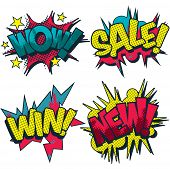 Wow, sale, win and new comic book style vector graphic