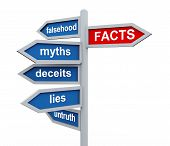 3D Roadsign Of Facts Vs Lies Wordcloud