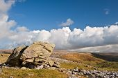 image of errat  - Norber Erratics in Yorkshire Dales National Park with Moughton Scar in background - JPG