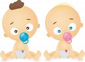 Illustration of Male and Female Babies each Sucking a Pacifier