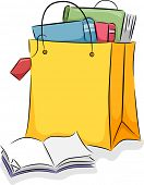 Board Illustration of a Shopping Bag Filled with Books