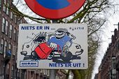 Amsterdam - Jan 29: Attention! Car Thief Activity As Road Sign In Amsterdam, Netherlands On January