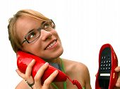 Woman With Red Phone