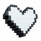 3d pixel heart isolated on white background...3d maded pixel images...