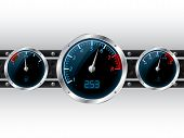 stock photo of meter stick  - Speedometer with rpm and separate fuel and water temperature gauge - JPG