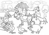foto of hen house  - Black and White Cartoon Illustration of Rural Scene with Farm Animals Livestock Big Group for Coloring Book - JPG