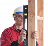 Carpenter With Level Checking Studs