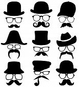 stock photo of mustache  - 9 portraits of man with a mustache and a hat  - JPG