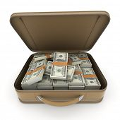 A briefcase full of cash in hundred dollar bills