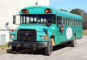 School Bus in Bright Teal Green